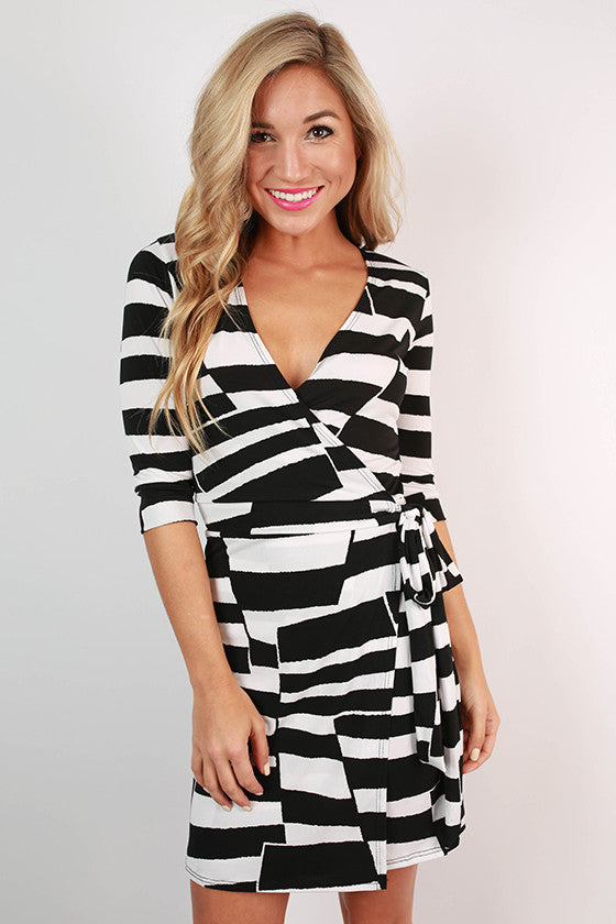 Stripes & Style Wrap Dress in Black