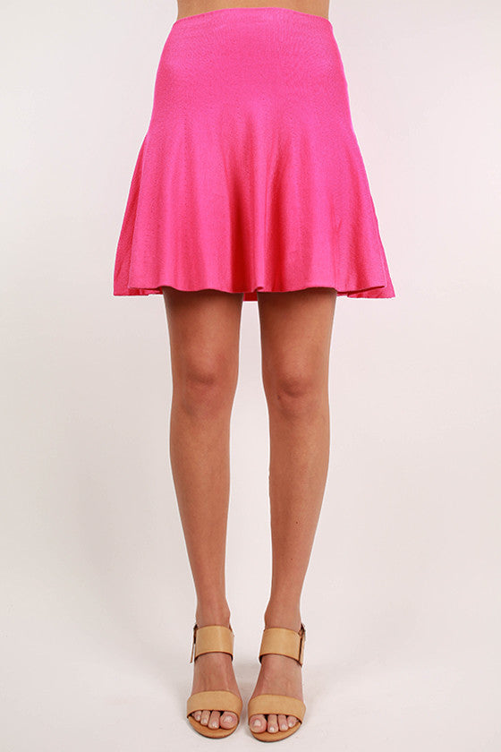 Instant Hit Flare Skirt in Hot Pink
