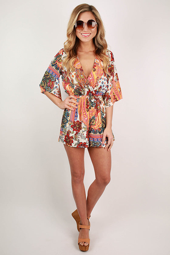 Summer Adventure Romper in Orange