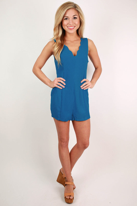 At The Yacht Club Romper in Ocean Blue