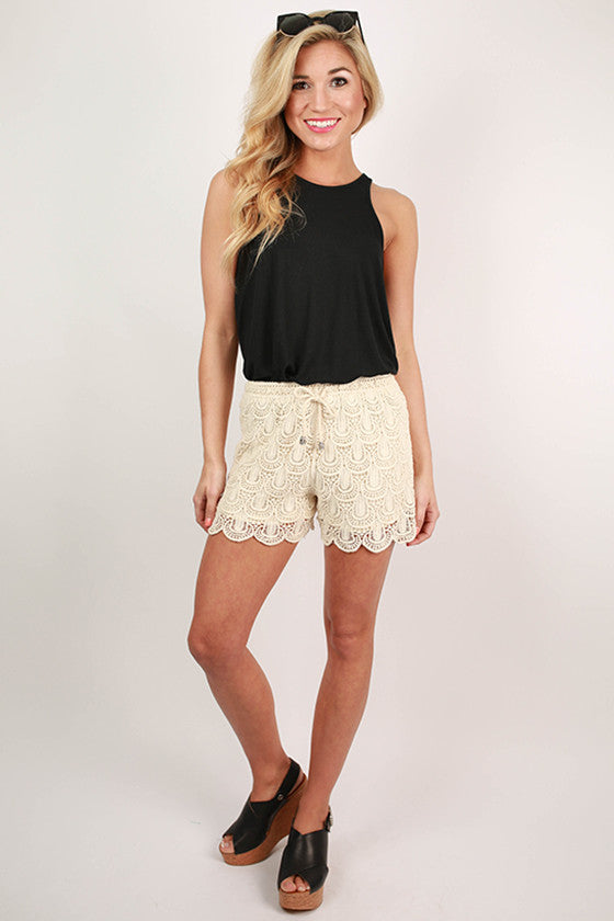 Dance All Day Crochet Shorts in Beige