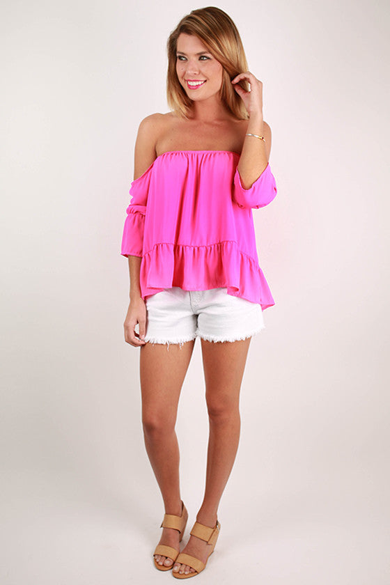 Front Row Tickets Flutter Top in Hot Pink