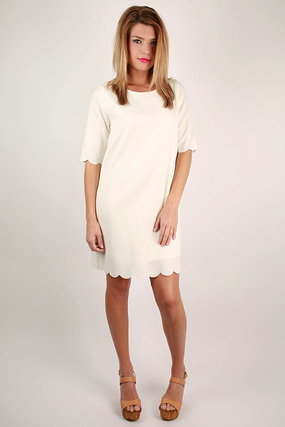 Elite in England Shift Dress in Ivory