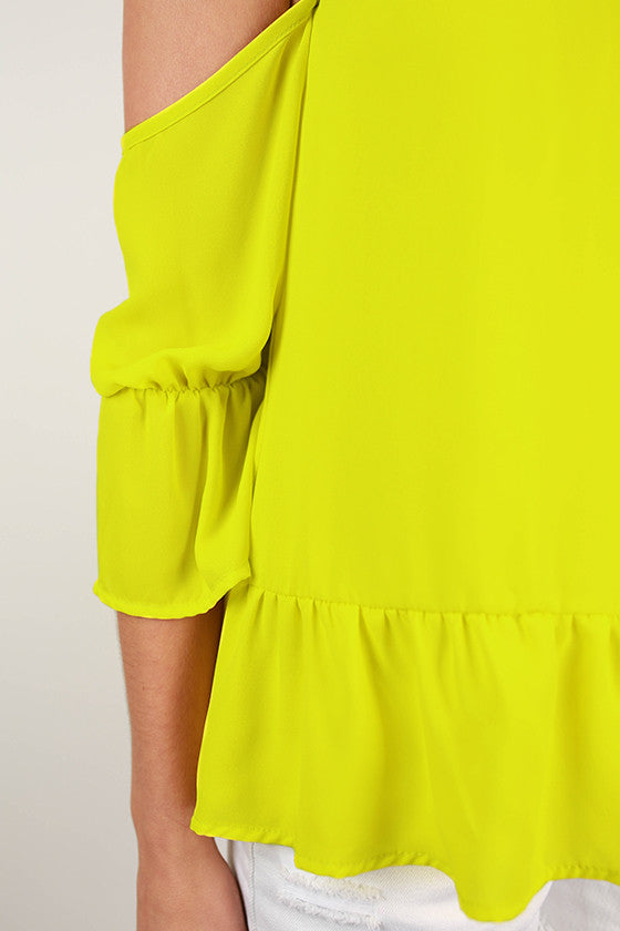 Front Row Tickets Flutter Top in Lime