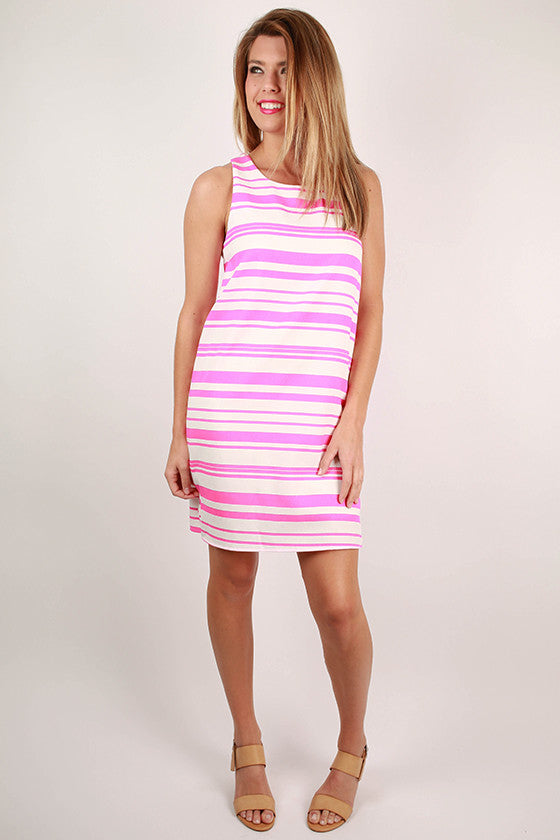 All The Appeal Stripe Shift Dress in Fuchsia
