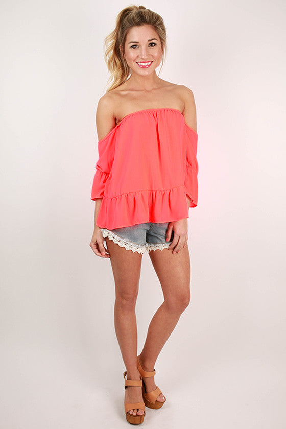 Front Row Tickets Flutter Top in Neon Coral