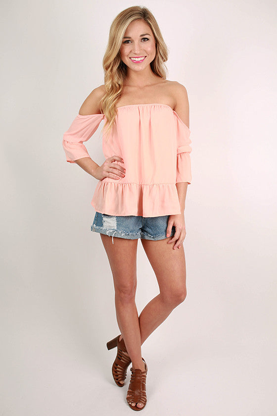Front Row Tickets Flutter Top in Peach