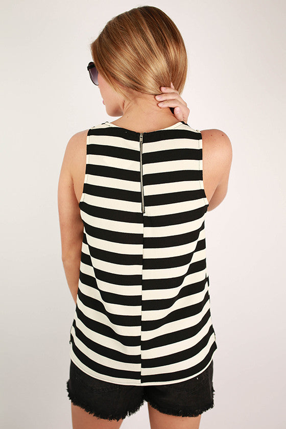 Serendipity Stripe Tank in Black