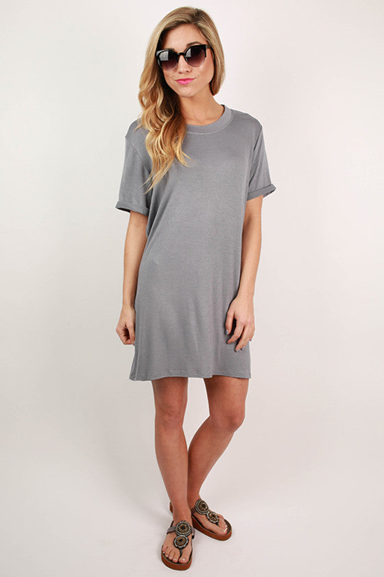 Study With Me T-Shirt Dress in Grey
