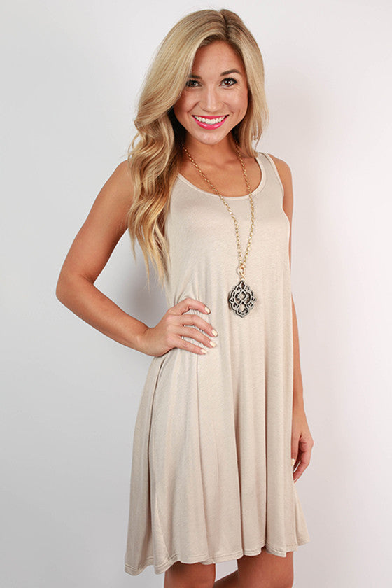 Sightseeing in Paris Tank Dress in Taupe