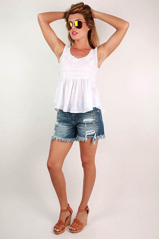 Lady in London Ruffle Top in White
