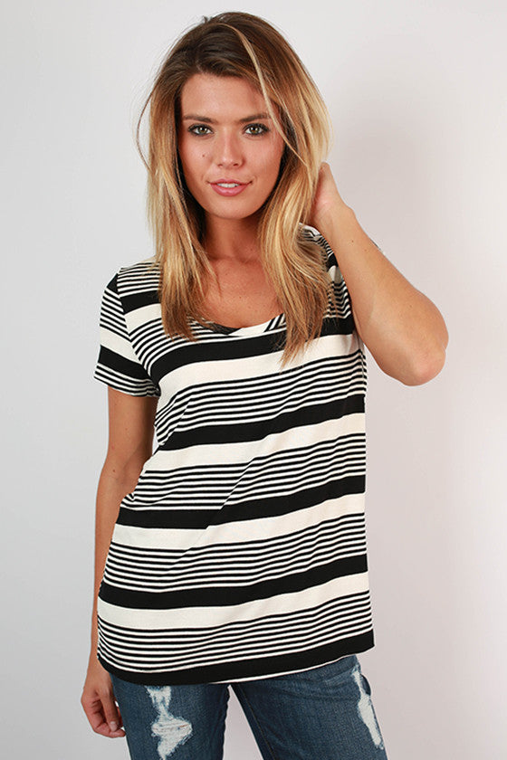 Cali Summer Stripe Top in Black