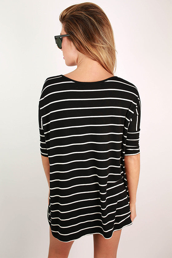Stripes in Seattle Dolman Top in Black