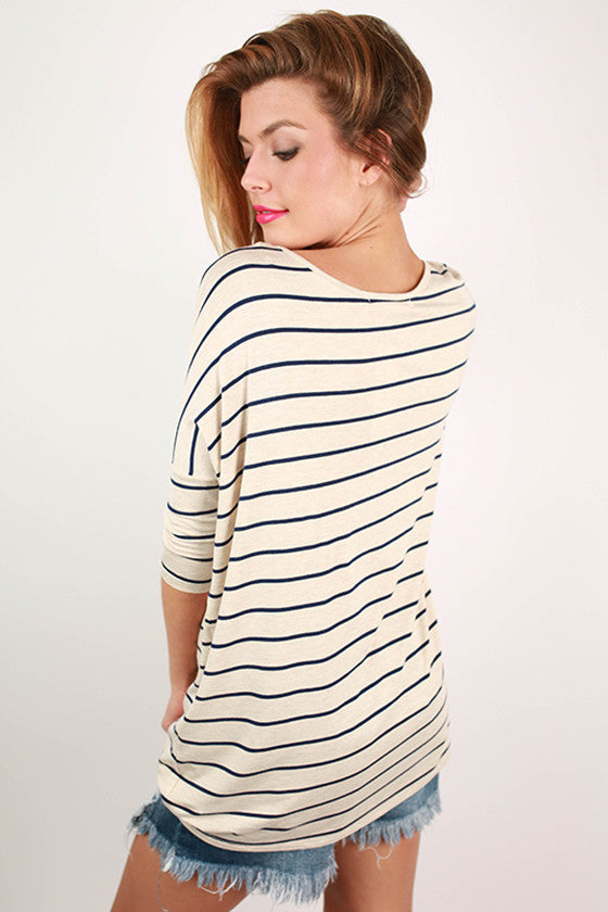 Stripes in Seattle Dolman Top in Oatmeal