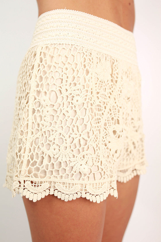 Flower Babe Crochet High Waist Shorts in Ivory