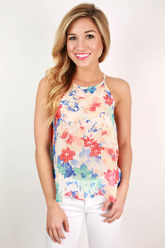 Chic in Chiffon Floral Flutter Tank