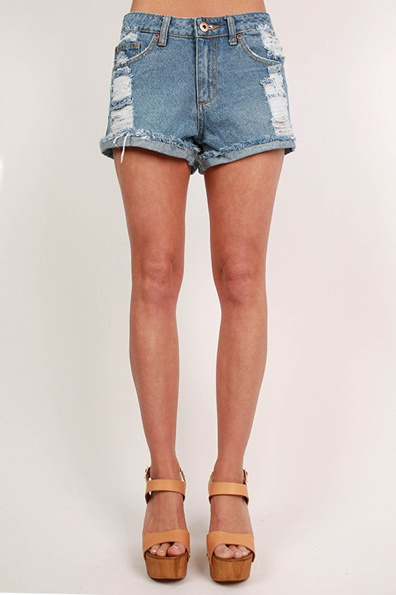 Vegas Baby Distressed Denim High Waisted Shorts