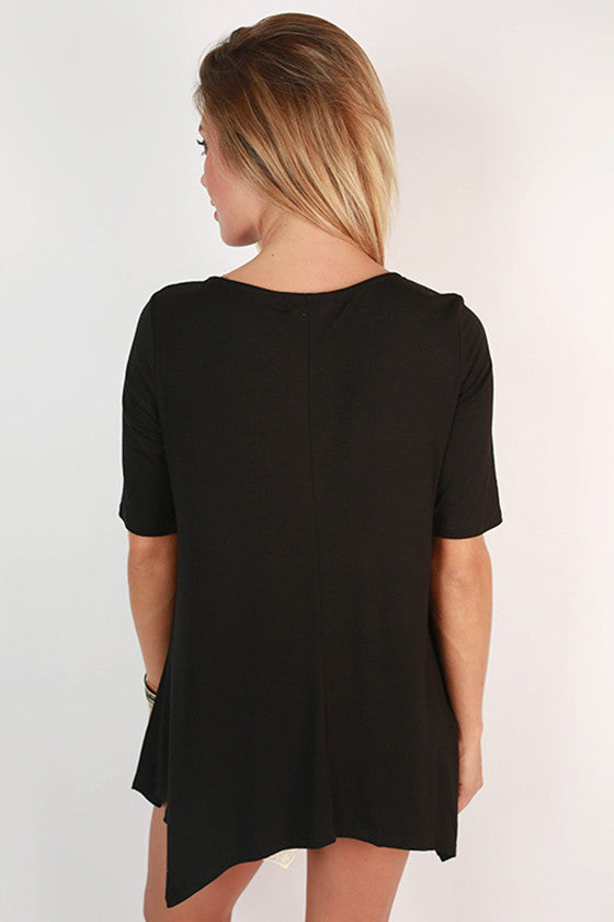 Summer in the Hamptons Button Down Tunic in Black