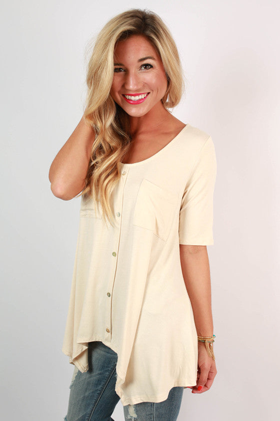 Summer in the Hamptons Button Down Tunic in Cream