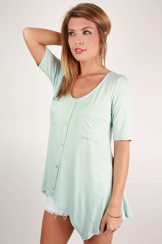 Summer in the Hamptons Button Down Tunic in Sky Blue