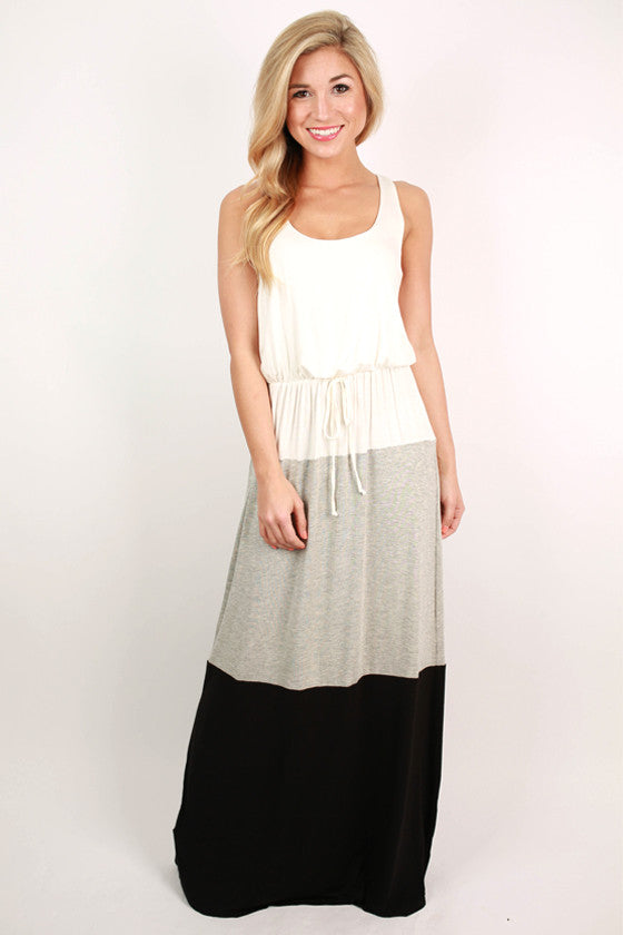 Dreaming of You Color Block Maxi Dress in Heather Grey