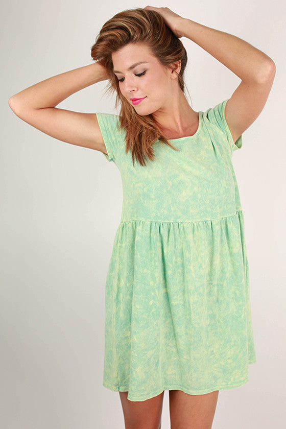 Going to Greece Babydoll Dress in Mint