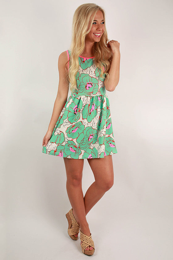 Mojito Night Floral Dress in Mint