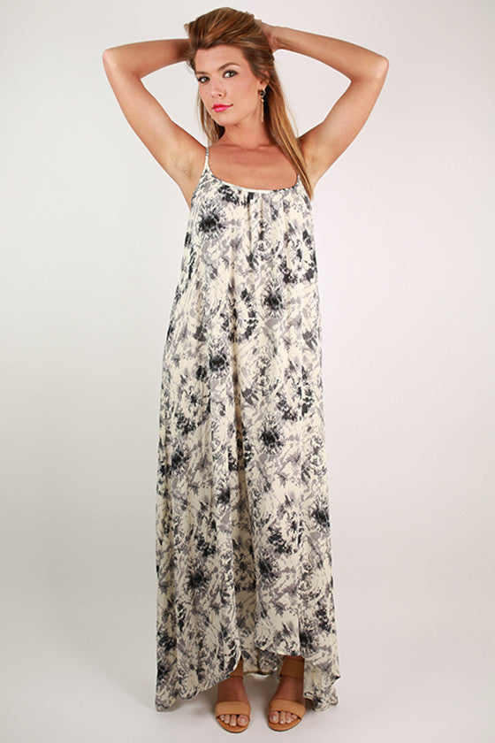 Small Talk Hi-Lo Tie-Dye Maxi Dress in Grey