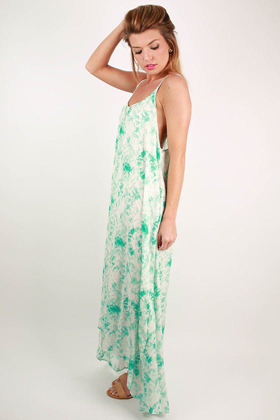 Small Talk Hi-Lo Tie-Dye Maxi Dress in Aqua