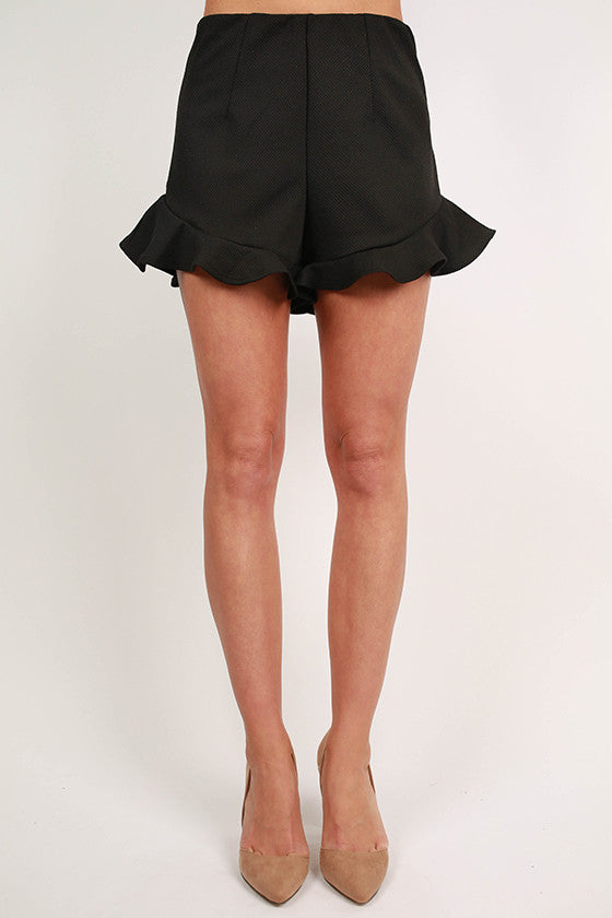 Ruffle It Up Shorts in Black