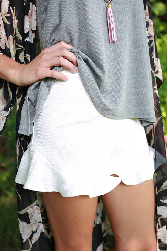 Ruffle It Up Shorts in White