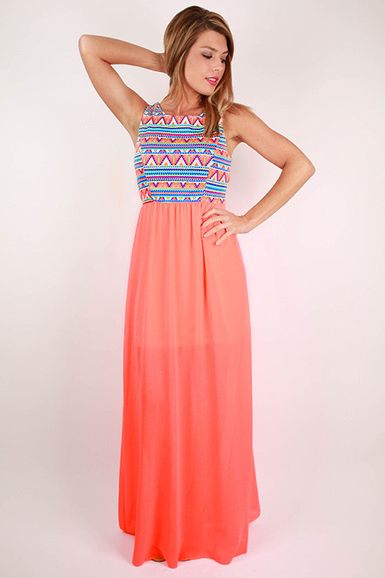 Day at the Beach Maxi Dress in Neon Coral