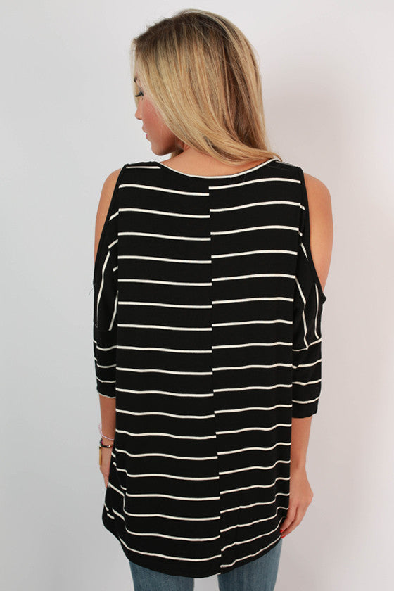 Stripes in Sicily Open Shoulder Top