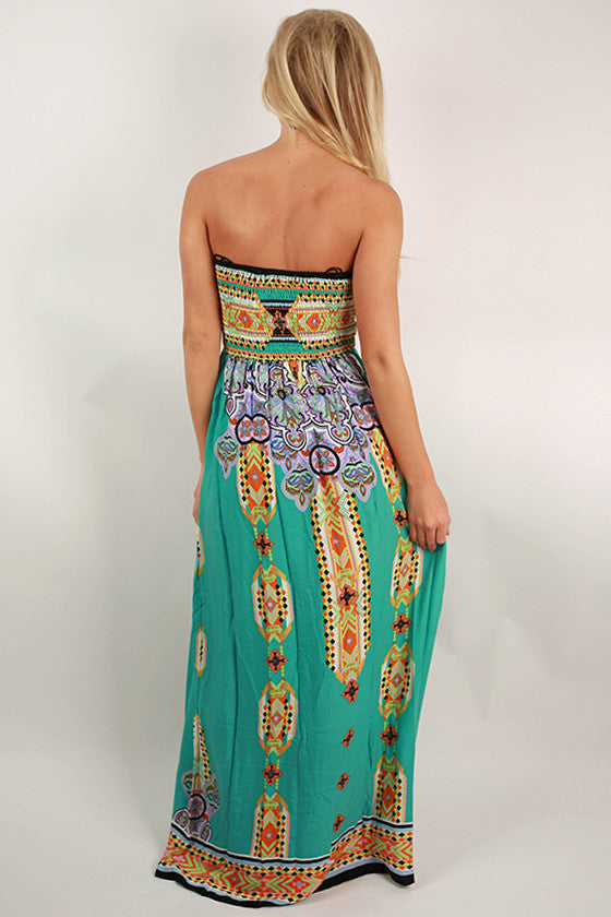 Cabanas & Cocktails Maxi Dress in Ocean Wave
