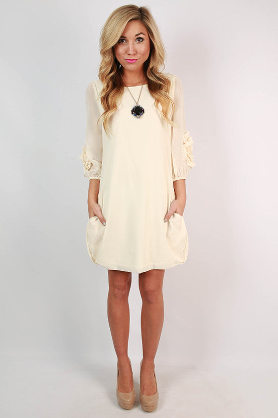Palace Garden Shift Dress in Cream