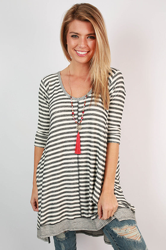 City Life Stripe Tunic in Black
