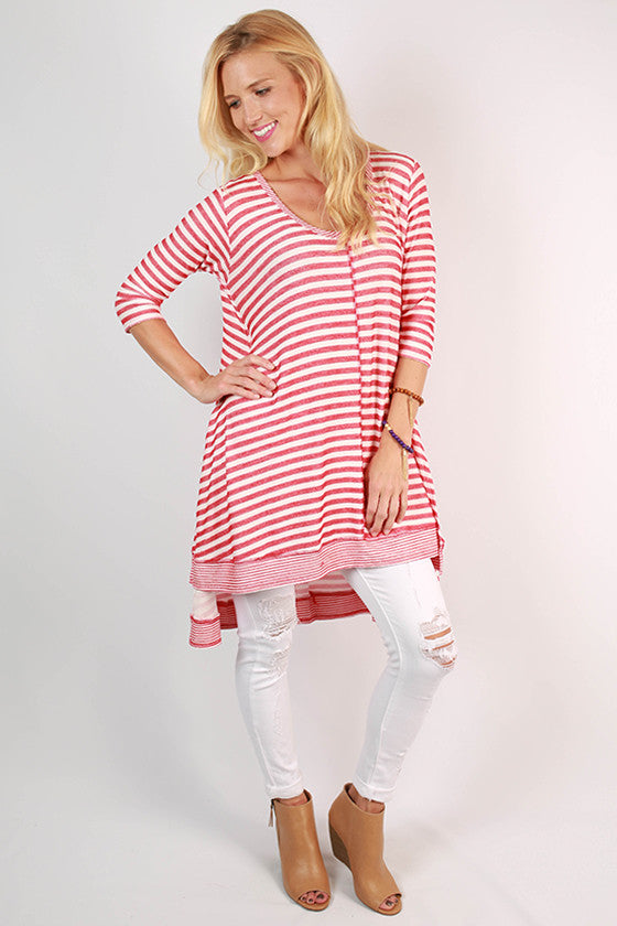 City Life Stripe Tunic in Red