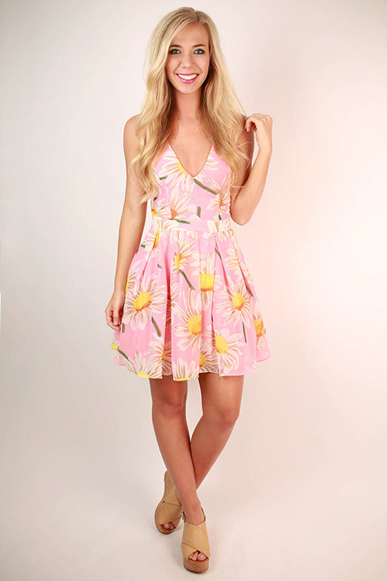 English Garden Floral Dress in Pink