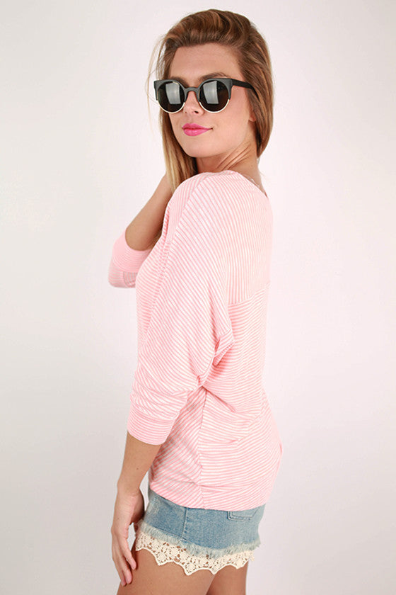 Sophisticated In Stripes Dolman Top in Peach