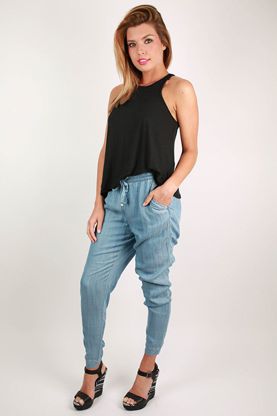 All About That Style Chambray Joggers