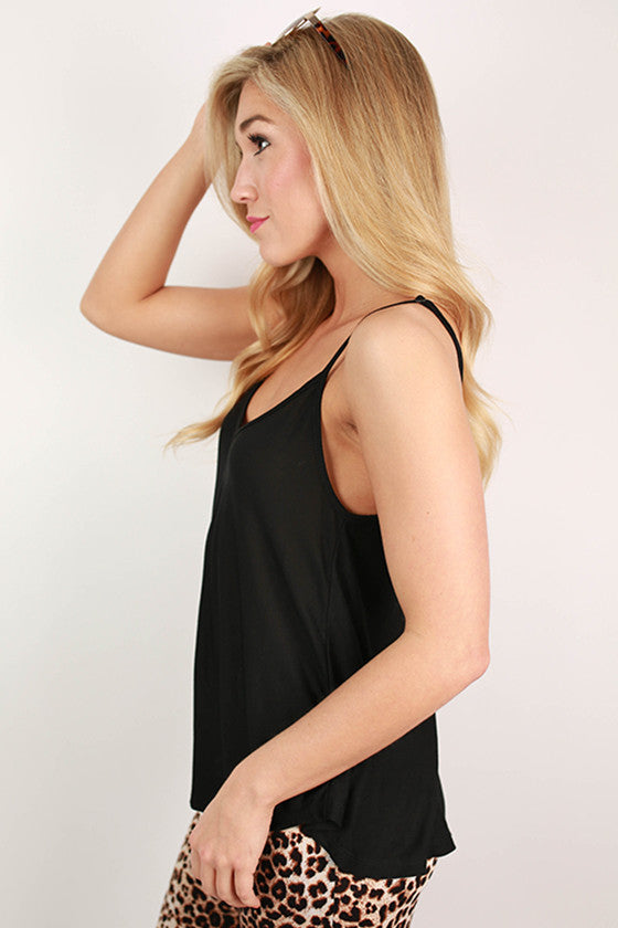 Sweet Socialite Flutter Tank in Black