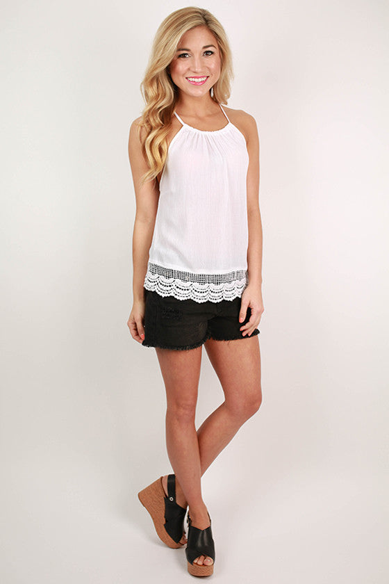 Happy Hour Halter Flutter Tank in White