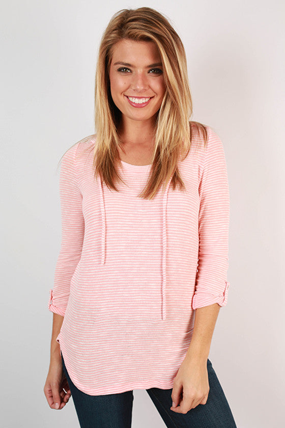 Adventures In Spain Stripe Top in Peach