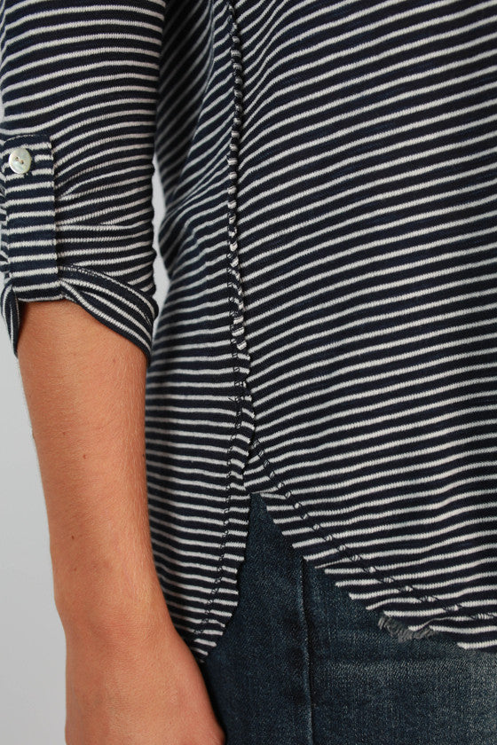 Yacht Club Weekend Stripe Top in Navy