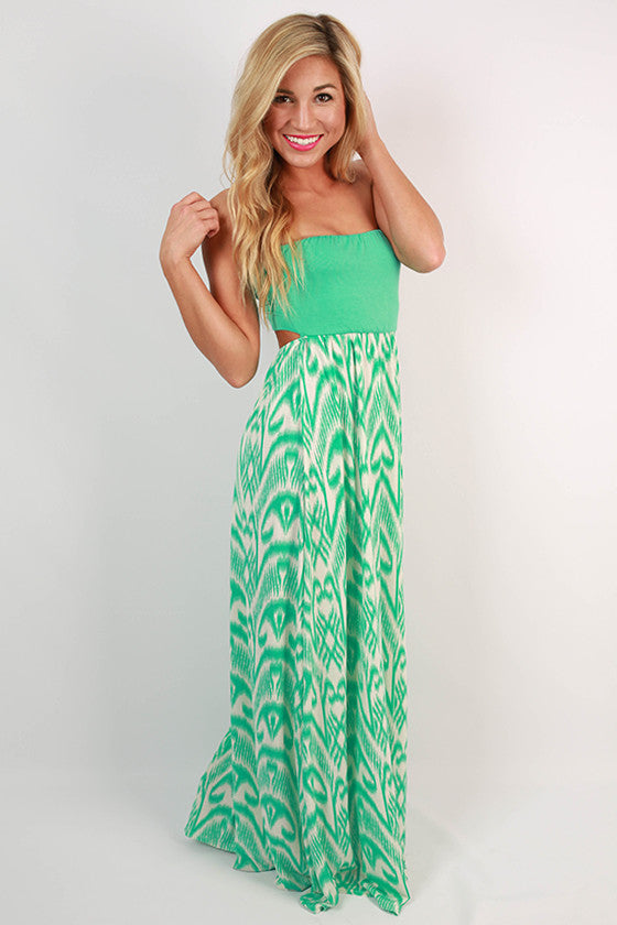 To Your Heart's Content Open Back Maxi Dress in Mint