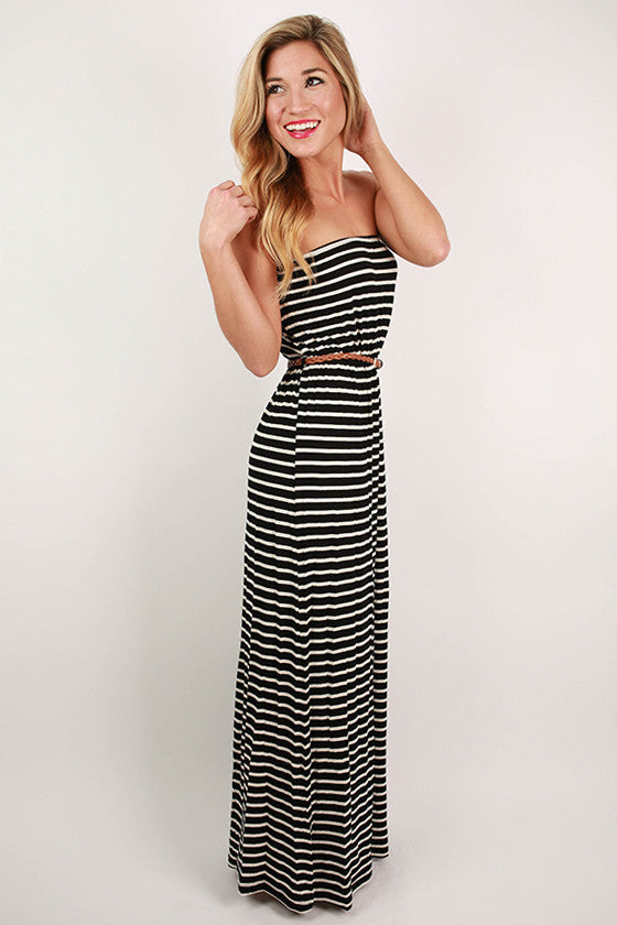 Summer Nights Stripe Maxi Dress in Black