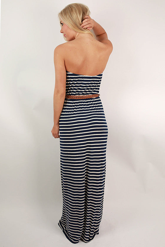 Summer Nights Stripe Maxi Dress in Navy