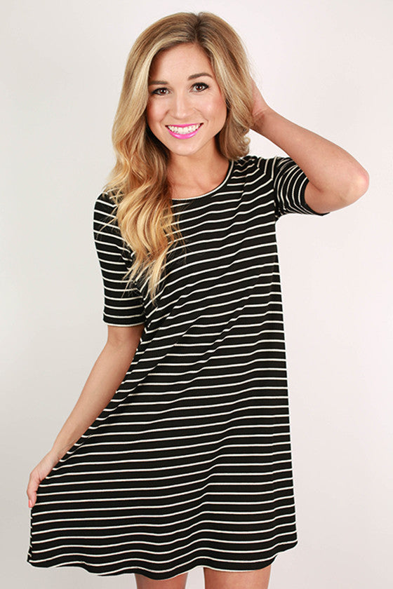 Always The Tried & True Striped Shift Dress in Black