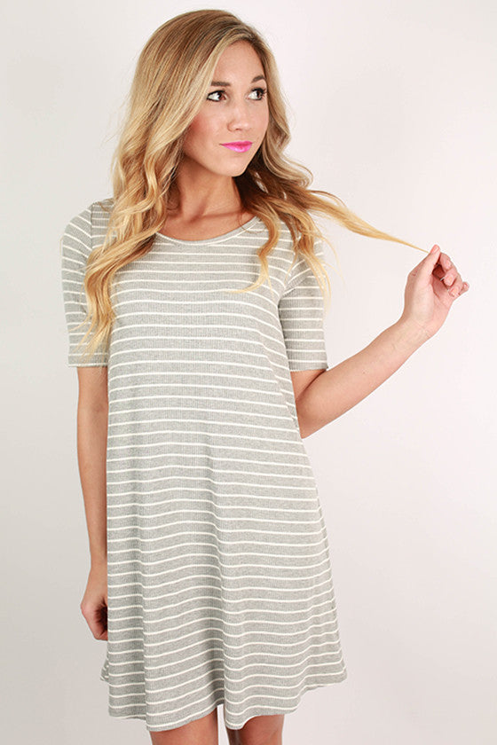 Always The Tried & True Striped Shift Dress in Grey