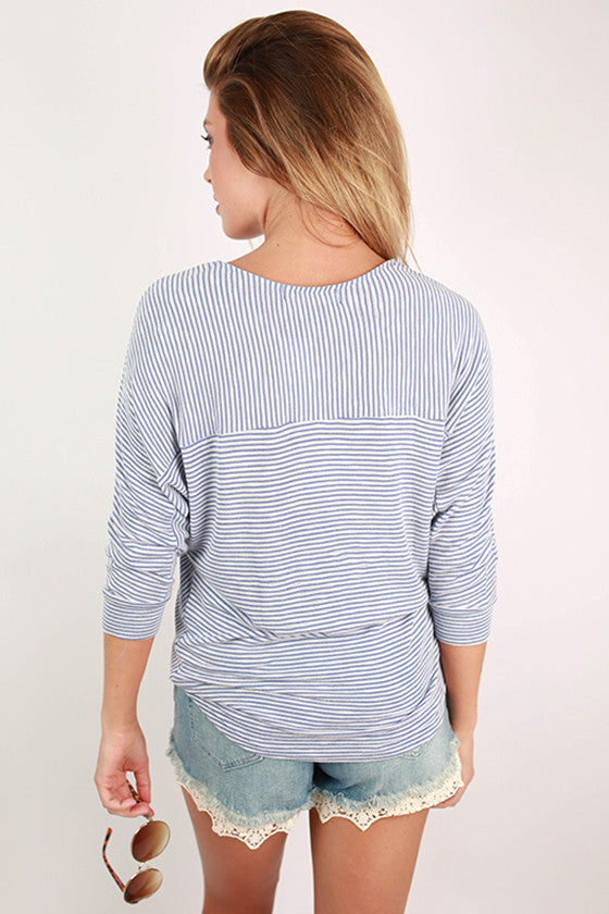 Sophisticated In Stripes Dolman Top in Blue